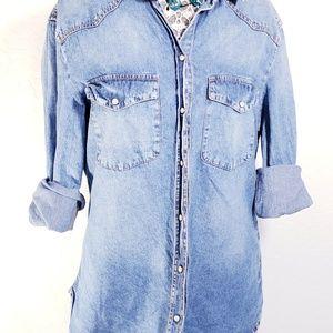 Womens Snap Button Denim Shirt